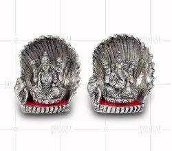 White Metal Lakshmi Ganesh Idols