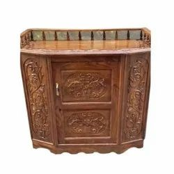 Royal Brown Carved Wooden Bar Cabinets, Brass
