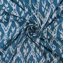 Blue Hand Block Ikat Printed Cotton Fabric