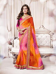 Georgette Pink & Orange Bandhani Saree