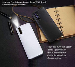 Leather Finish Large Power Bank With Torch
