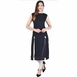 Plain Georgette And Also Available In Cotton Ladies Kurti A42