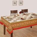 Swayam Raj Collection White, Gold and Maroon Colour 6 Seater Table Cover with Dinner Napkin