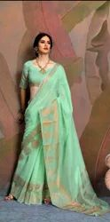 Party Wear Border Chanderi Cotton Sarees, 6.3 m (with blouse piece), Hand Made