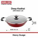 Nirlon Non-Stick Kadhai Pan With Glass Lid