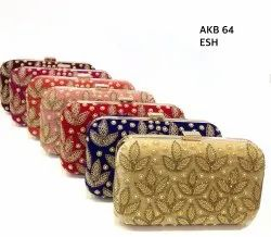 Amin Exports Clutch Embroidered Velvet Box Bags, Light Weight, for Party Wear