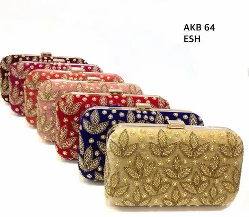 33d1582d71357 Amin Exports Clutch Embroidered Velvet Box Bags, Light Weight, for Party  Wear