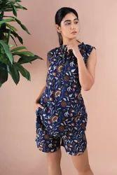 Floral Cotton Dress, Blue Floral Print Blouse, Short Pant Dress Set Casual Dress, Gypsy Style.