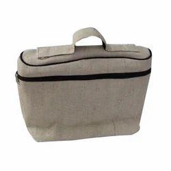 Off White Plain Jute Laptop Bag