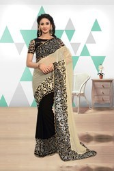 PR Fashion New Designer Black & White Saree