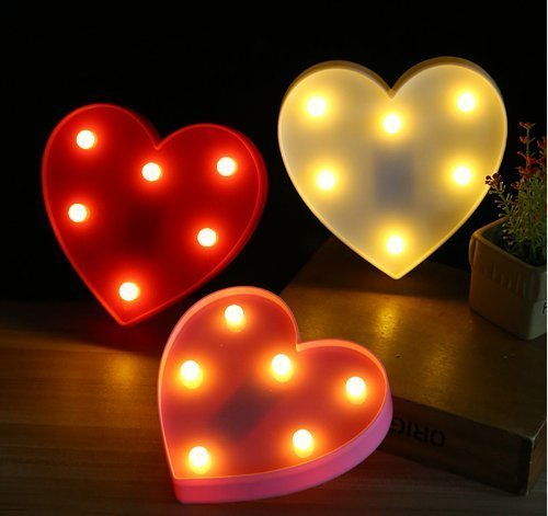 3D Love Heart LED Night Light Romantic Heart Lamps Wedding Party Decoration