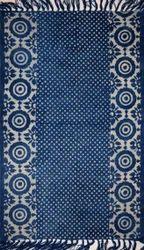 Vimla International Indigo Geometrical Block Print Ikat Dhurrie Carpet, Size: 4 X 6 Feet