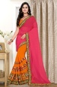 Embroidered Designer Pink And Orange  Color Georgette Saree