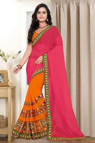 4458f6367e Georgette Embroidered Pink and Orange Color Designer Saree, Length: 5.5 m