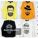 Mens Beard Printed Long Sleeves T Shirt