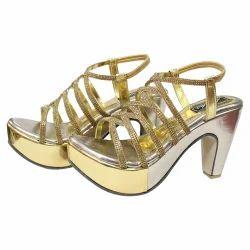 e374dc15f40 Golden Women Party Wear Heels Sandals