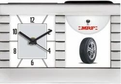 Customized Plastic Wall Clock With Pen Stand