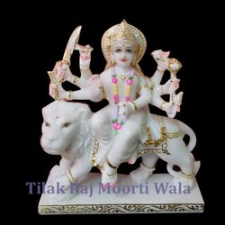 Sherawali Maa Multicolor Marble Statue