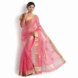 Pure Chanderi Silk Ladies Saree, Length: 6.3 m