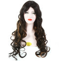 32 Inch Natural Brown Black & Golden Hair Curly Wig
