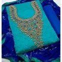 Ladies Chanderi Embroidered Unstitched Designer Suit
