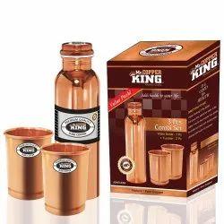 Plain Copper Bottle and Glass Tumbler Set