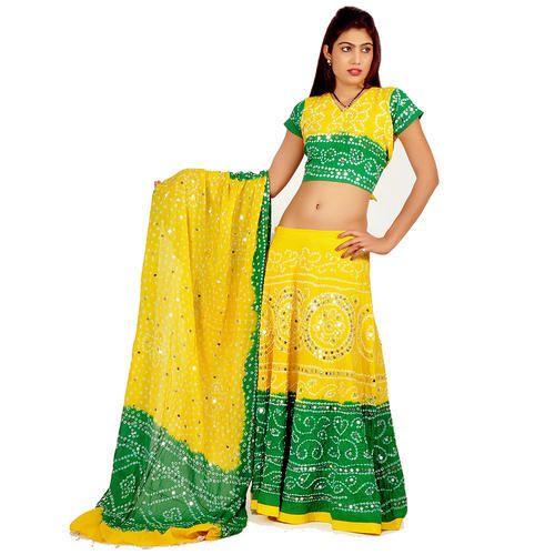 2791d46e36 Yellow-green Party Wear Rajasthani Cotton Lehenga Choli 307, Free Size