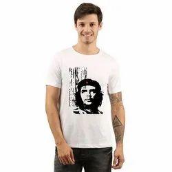 Half Sleeve White & black Mens Printed Cotton T Shirt