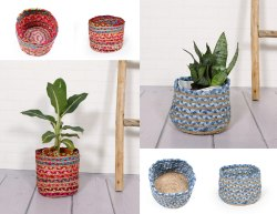 Hand Braided Sack Plant Pot Medium Plastic Lined Planter Bag