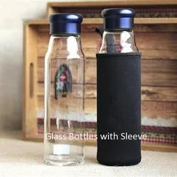 Borosilicate Transparent Glass Water Bottle, Capacity: 500 Ml, Size: 9.5 X 2.5 Inches
