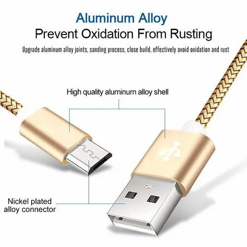 Android Micro-USB Nylon Braided Data-Charging Cable Gold