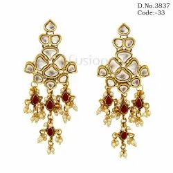 Traditional Antique Pearl Hanging Indian Wedding Kundan Earrings