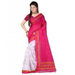 Pink And White And Also Available In Various Colors Casual Wear Cotton Saree