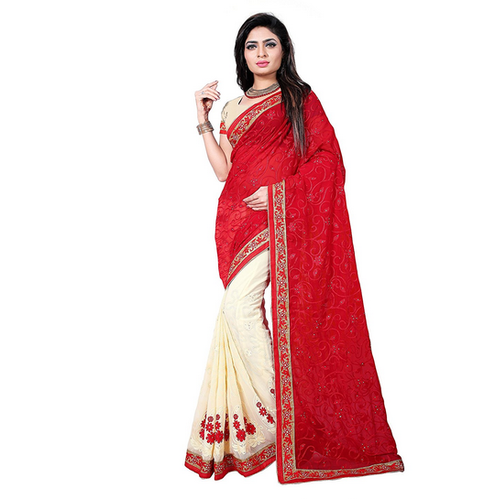 b3f745d722 Party Wear Women Embroidered Multicolour Georgette Saree, Rs 999 ...