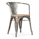 Industrial Metal Arm Chair With Wooden Seat/industrial Chair