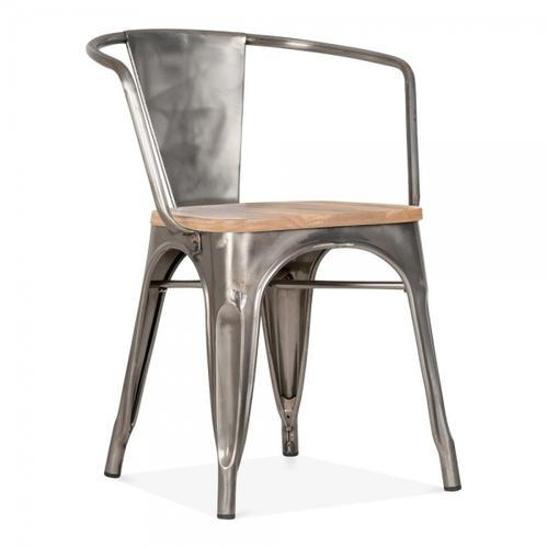 Gunmetal Industrial Metal Arm Chair With Wooden Seat/industrial Chair