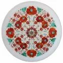 Floral Design Inlaid Marble White Tray Plate