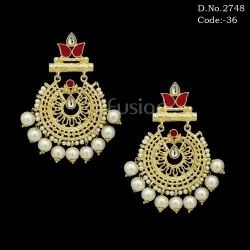 Fusion Matt Gold Meenakari Pearl Chandbali Earrings