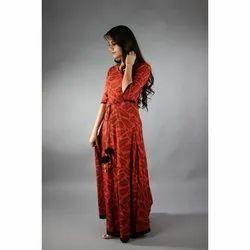 Ladies Fancy Red Cotton Kurti