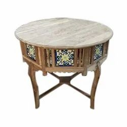 Wooden Round Antique Console Table