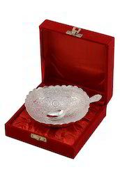 Silver Plated Engraved Brass Handicraft Bowl with Spoon and Box