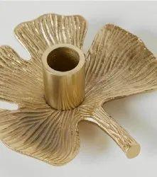 Leaf Design Brass Candle Holders