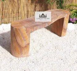 Curved Sandstone Garden Bench