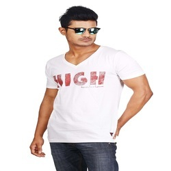 White Casual Men's Knitted T Shirt