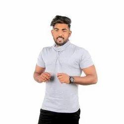 Cotton Half Sleeve High Neck T-Shirts, Size: 36-44