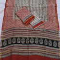 Unstitched Baghru Print Chanderi Suits