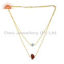 Sun Stone Aquamarine Womens Gold Plated Silver Necklace