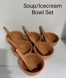 Reddish Brown Clay Mud soup set, For Hotel, Set Contains: 6 Pcs