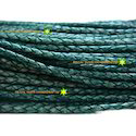 Dark Green Antique Braided Leather Cord