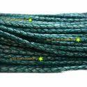 Dark Green Antique Braided Leather Cord